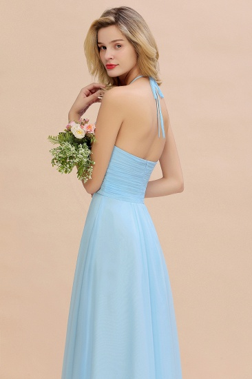 Glamorous Halter Backless Long Affordable Bridesmaid Dresses with Ruffle_58