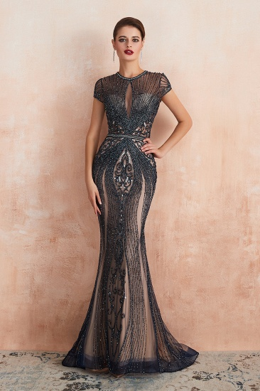Luxurious Crystal Short Sleeve Prom Dress Long Mermaid Kehole Evening Gowns With Zipper Back_3