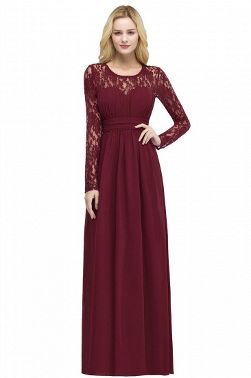 BMbridal A-line Floor Length Long Sleeves Lace Chiffon Bridesmaid Dress_1