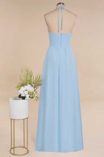 Glamorous Halter Backless Long Affordable Bridesmaid Dresses with Ruffle_11