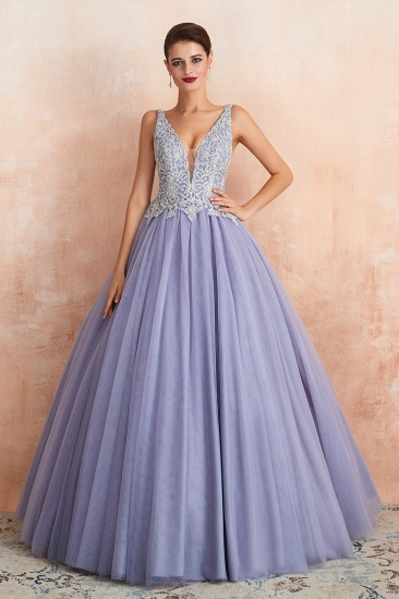 Gorgeous Lavender Lace Prom Dress V-Neck Ball Gown Tulle Formal Wears_6