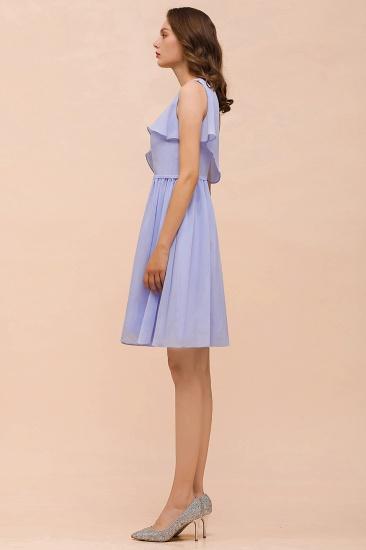 Affordable One Shoulder Ruffle Lavender Chiffon Short Bridesmaid Dress_9
