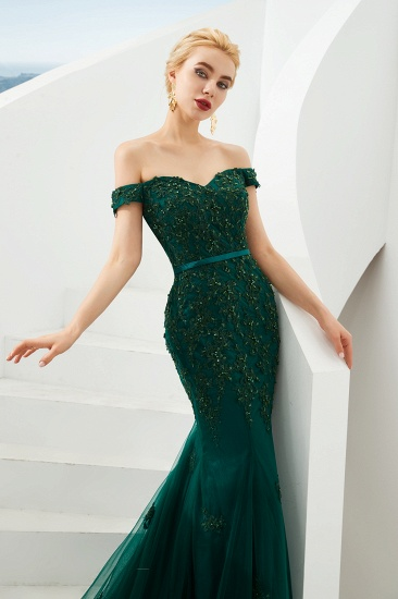 BMbridal Off-the-Shoulder Green Prom Dress Long Mermaid Evening Gowns With Lace Appliques_6