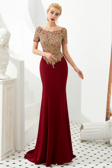BMbridal Burgundy Short Sleeves Mermaid Prom Dress Long With Gold Appliques_8