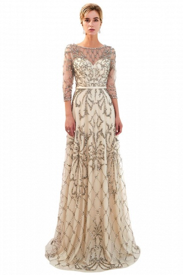 BMbridal Affordable A-line Illusion Neckline Prom Dresses Long Beading Evening Dresses with Sleeves_2