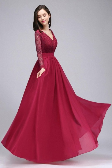BMbridal Elegant A-line Chiffon Lace Long Sleeves Evening Dress_5