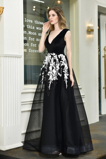 BMbridal Sexy Black Long Prom Dress V-Neck Evening Gowns With Lace Appliques_9