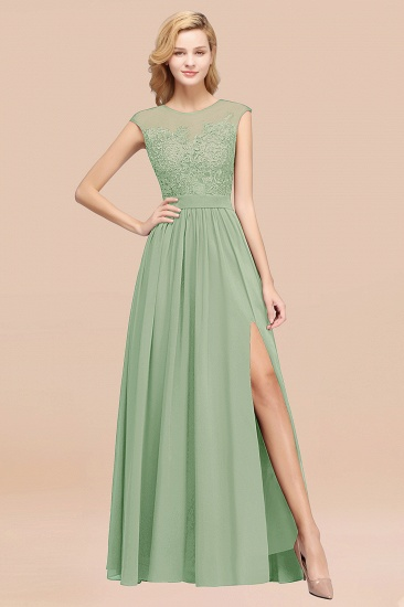 Cheap Scoop Lace Appliques Yellow Bridesmaid Dresses with Slit_41