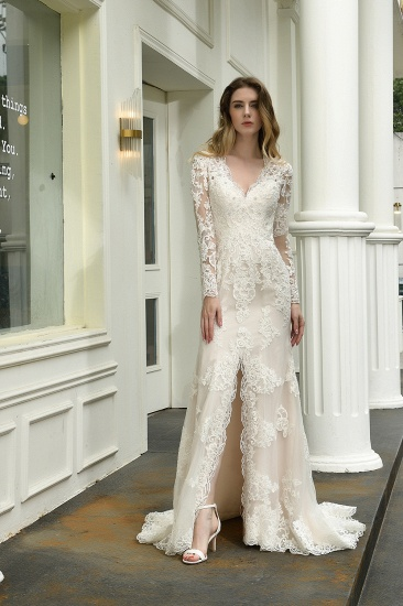 Exquisite Sheath V-Neck Long Sleeves Wedding Dress With Slit_6