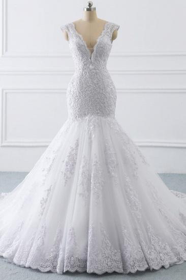 BMbridal Gorgeous V-neck Sleeveless Mermaid Wedding Dress Lace White Bridal Gowns On Sale_1
