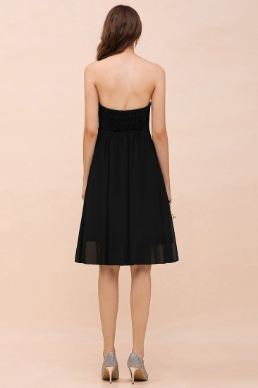 Lovely Strapless Sweetheart Ruffle Short Black Bridesmaid Dress Affordable_3