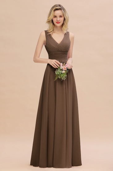 Elegant V-Neck Dusty Rose Chiffon Bridesmaid Dress with Ruffle_12