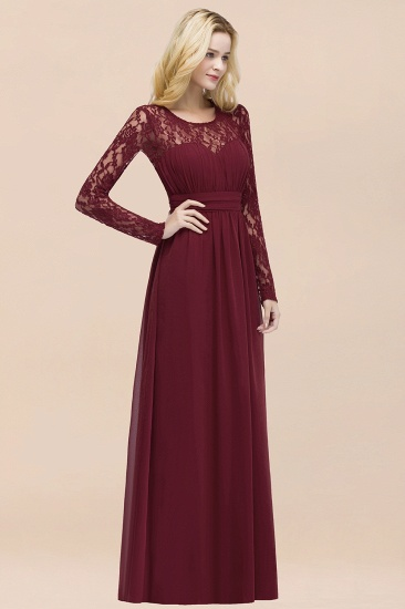 BMbridal Elegant Lace Burgundy Bridesmaid Dresses Online with Long Sleeves_55