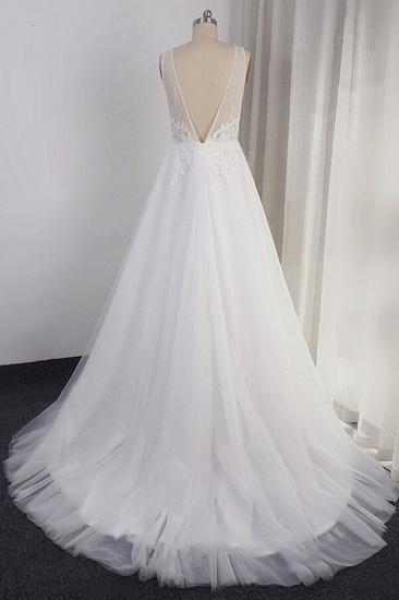 BMbridal Elegant Appliques Straps Tulle Wedding Dress A-line White V-neck Bridal Gowns On Sale_3