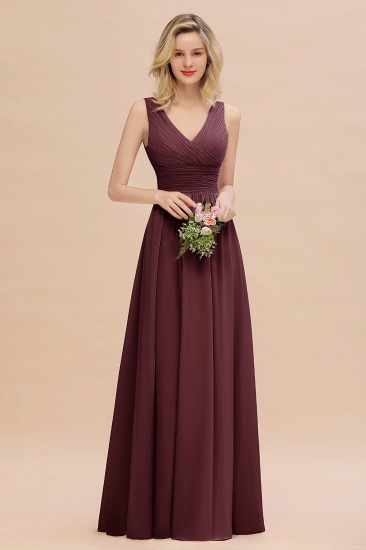 Elegant V-Neck Dusty Rose Chiffon Bridesmaid Dress with Ruffle_47