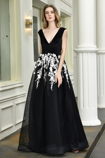 BMbridal Sexy Black Long Prom Dress V-Neck Evening Gowns With Lace Appliques_7