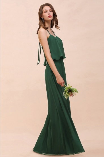 Chic Halter Sweetheart Dark Green Chiffon Bridesmaid Dress_7