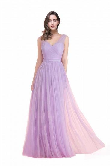 BMbridal A-line Ruffled Tulle Sleeveless Ribbon Sash V-neck Bridesmaid Dress_2
