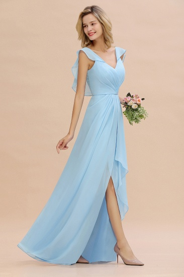 Modest Hi-Lo V-Neck Ruffle Long Bridesmaid Dress with Slit_53
