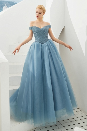 BMbridal Princess Off-the-Shoulder Prom Dress Beadings Sweetheart Ball Gown Evening Gowns_17