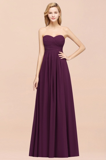 Vintage Sweetheart Long Grape Affordable Bridesmaid Dresses Online_51