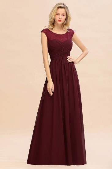Modest Burgundy Chiffon Sleeveless Ruffle Bridesmaid Dress