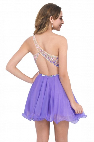 BMbridal A-line One Shoulder Chiffon Party Dress With Crystal_4
