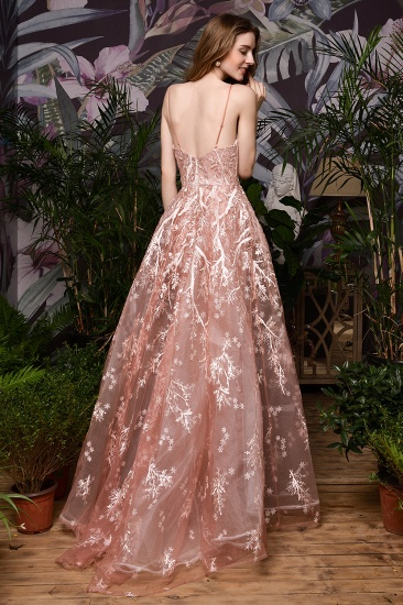 Pink Spaghetti-Straps Appliques Prom Dress Long Evening Gowns Overskirt_3