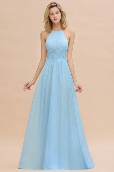 Glamorous Halter Backless Long Affordable Bridesmaid Dresses with Ruffle_1