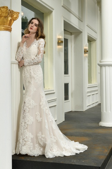 Exquisite Sheath V-Neck Long Sleeves Wedding Dress With Slit_9