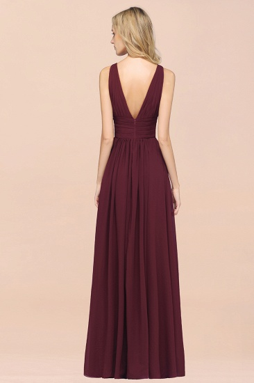 Elegant V-Neck Burgundy Chiffon Cheap Bridesmaid Dress with Ruffle_36