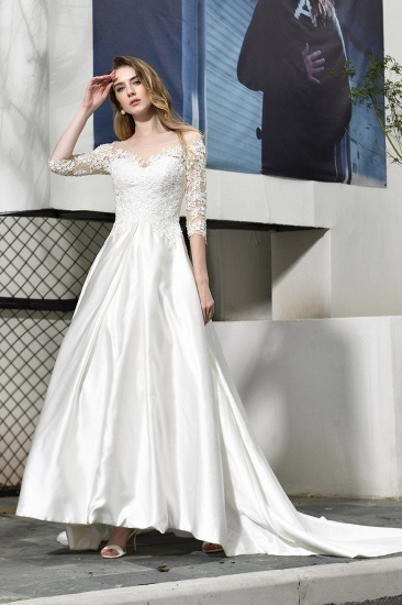Elegant A-Line Satin Lace 3/4 Sleeves Ankle Length Wedding Dress_7
