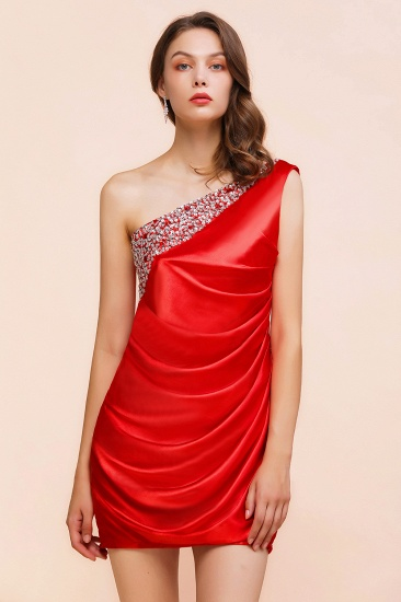 BMbridal Chic One Shoulder Beading Ruffle Red Bridesmaid Dress with Detachable Skirt_9