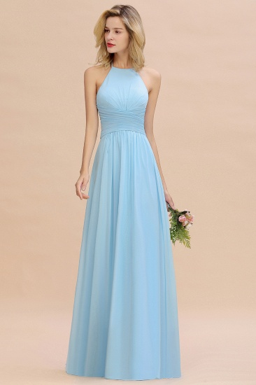 Glamorous Halter Backless Long Affordable Bridesmaid Dresses with Ruffle_6
