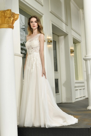 Sexy A-Line One Shoulder Tulle Lace Ivory Wedding Dress Online_8