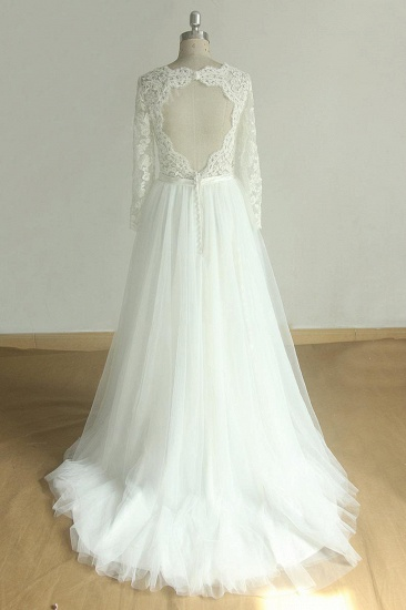 Elegant A-line Lace Tulle Wedding Dress Long Sleeves Appliques Bridal Gowns Online_3