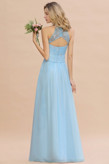 Elegant Jewel Ruffle Affordable Chiffon Bridesmaid Dress with Appliques_3