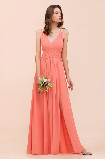 Glamorous V-Neck Ruffle Chiffon Long Bridesmaid Dress With Slit_5
