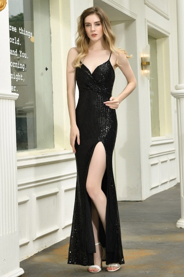 Sparkly Black Sequins Spaghetti Straps V-Neck Affordable Prom Dress