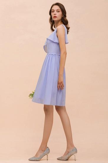 Affordable One Shoulder Ruffle Lavender Chiffon Short Bridesmaid Dress_7