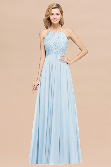 Halter Crisscross Pleated Bridesmaid Dress Blue Chiffon Sleeveless Maid of Honor Dress_23