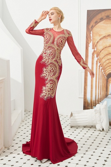 Burgundy Long Sleeve Mermaid Prom Dress With Gold Appliques Online_2