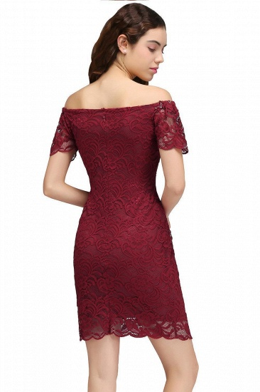 BMbridal Burgundy Lace Sheath Homecoming Dress Short Sleeves Cocktail Dress_3
