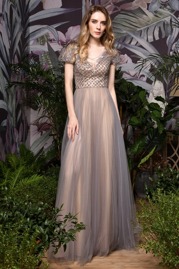 Glamorous Short Sleeve Tulle Prom Dress Long Evening Party Gowns Online_8