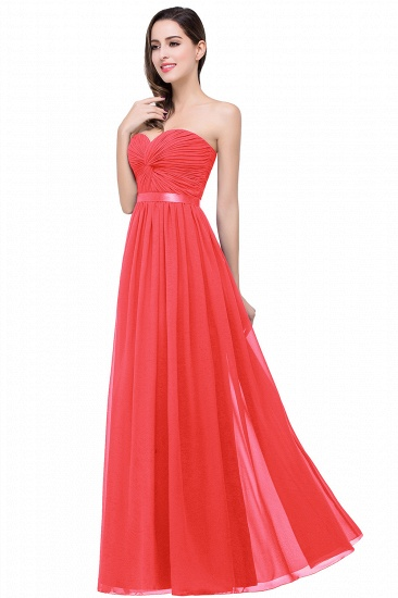 BMbridal Affordable Chiffon Strapless Navy Bridesmaid Dress with Ruffle In Stock_1