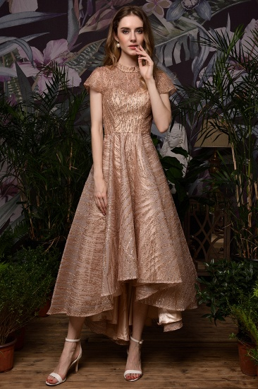 Glamorous Rose Gold Sequins Prom Dress Short Sleeve Evening Gowns Online_9
