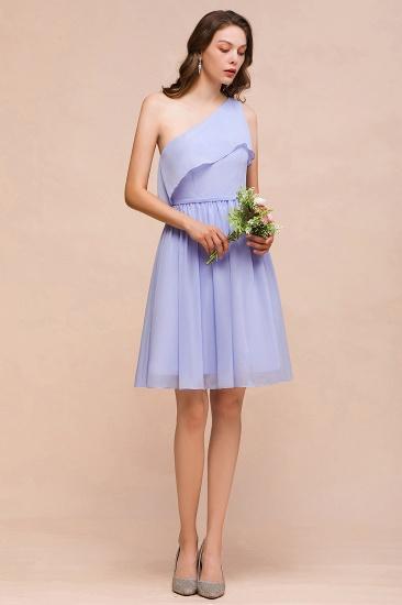Affordable One Shoulder Ruffle Lavender Chiffon Short Bridesmaid Dress_4