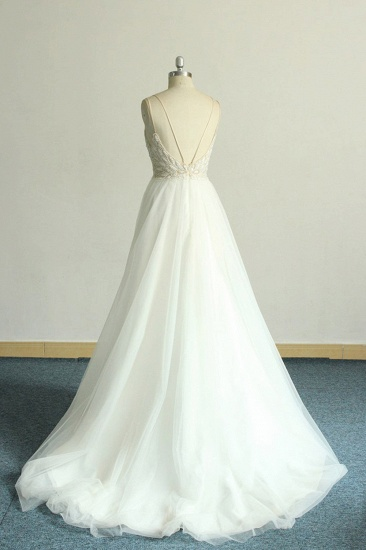 BMbridal Gorgeous A-line White Lace Tulle Wedding Dress Sleeveless Appliques Bridal Gowns On Sale_3