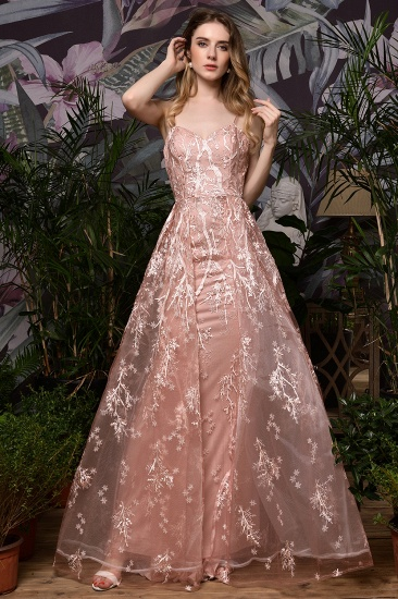 Pink Spaghetti-Straps Appliques Prom Dress Long Evening Gowns Overskirt_5