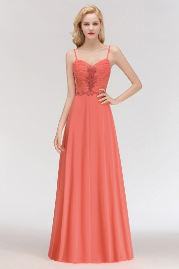 BMbridal Modest Spaghetti-Straps Ruffle Affordable Bridesmaid Dress with Appliques_4